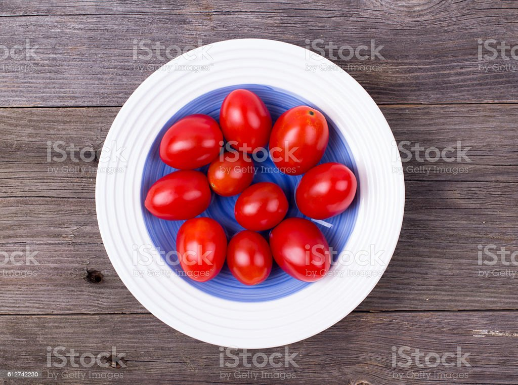 Cherry tomatoes in a plate stock photo