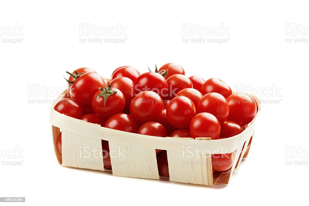 cherry tomatoes in basket isolated stock photo