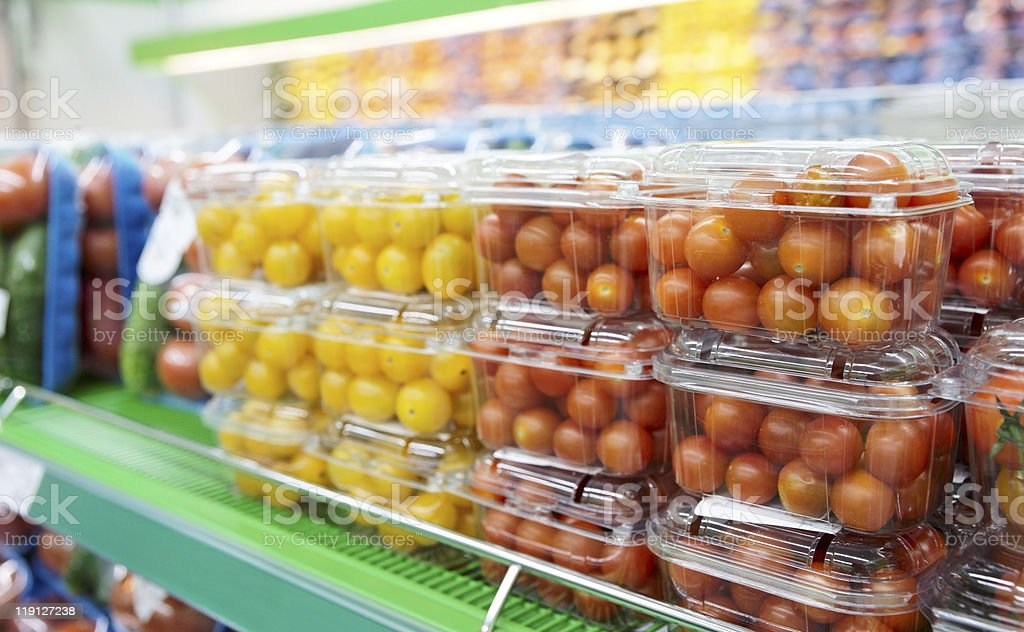 Cherry tomatoes in supermarket royalty-free stock photo