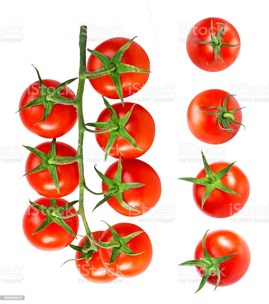 Cherry tomatoes isolated on a white stock photo