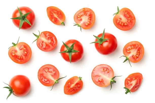 tomates cerise isolé sur fond blanc - tomate photos et images de collection