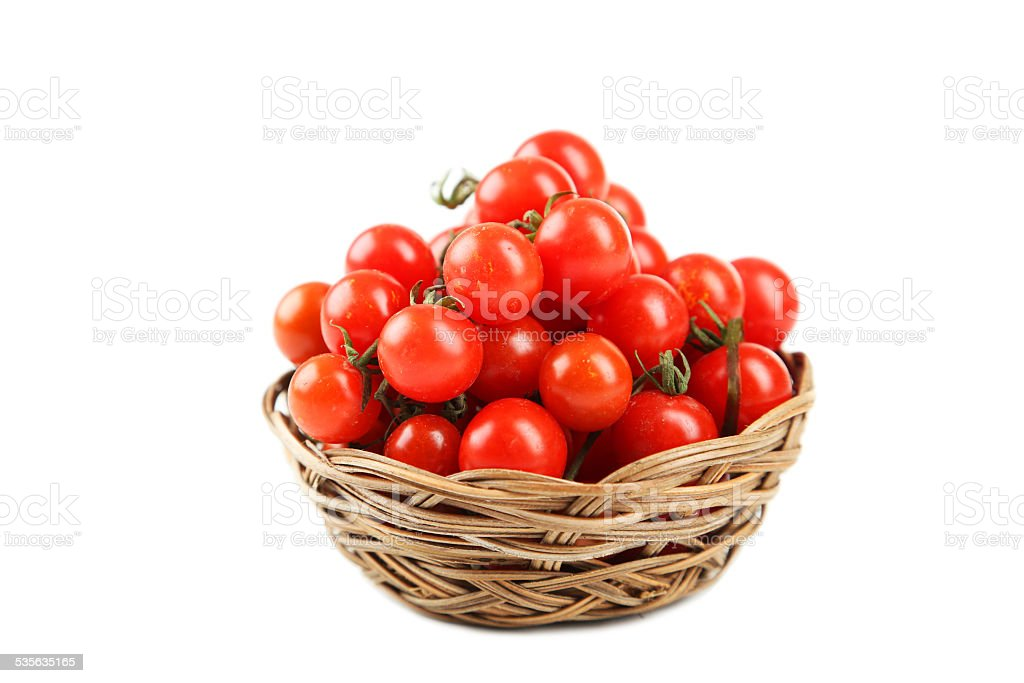 Cherry tomatoes isolated on white stock photo