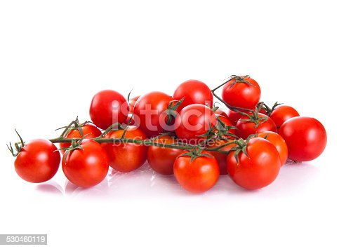 Red cherry tomatoes isolated on the white background.