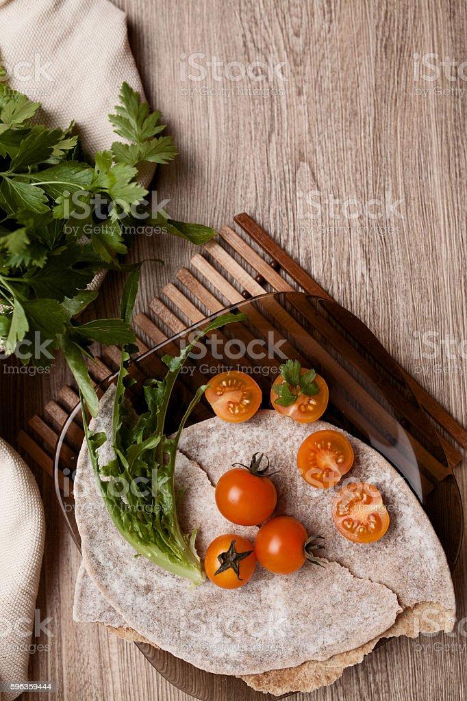 cherry tomatos salad with fresh green vegetable royalty-free stock photo