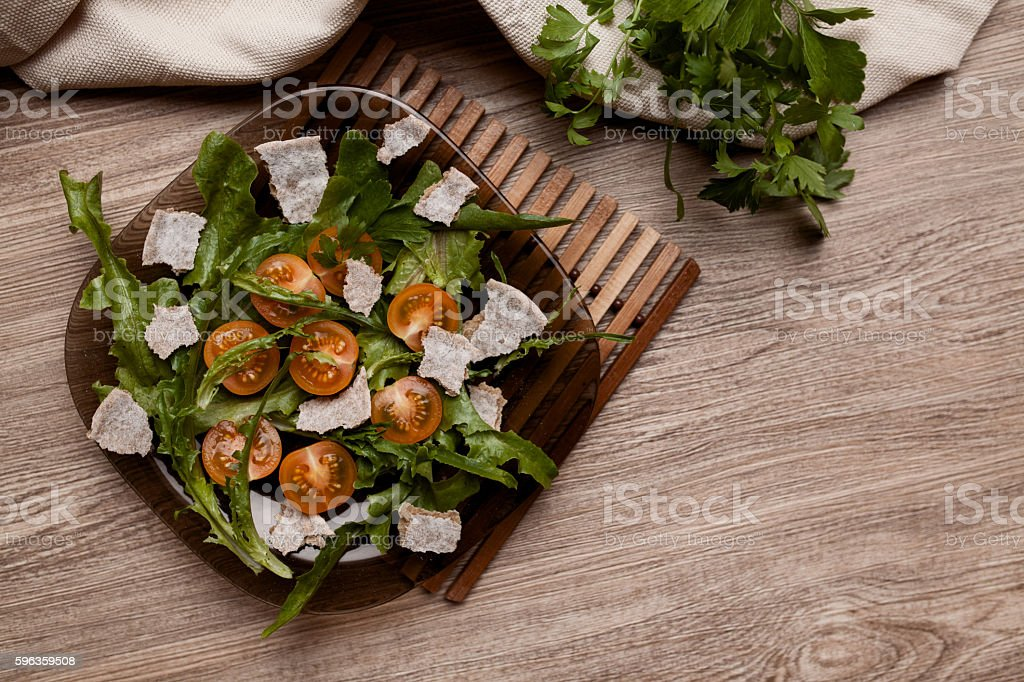 cherry tomatos salad with fresh green vegetable royalty-free stock photo