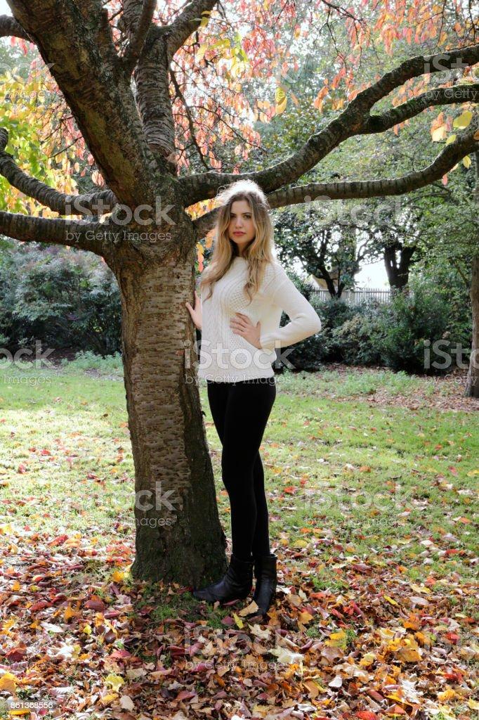 Cherry tree autumn leaves Bulgarian outdoor girl stock photo