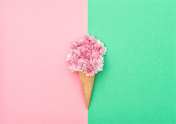 Arbre de fleur de cerisier cône de glace à établir des gaufres - Photo