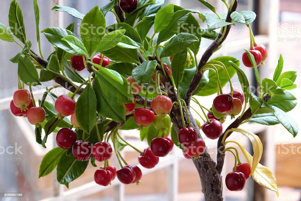 Cherry tree from clay, handmade bonsai stock photo
