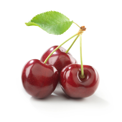 istock Cherry trio with stem and Leaf 157428769