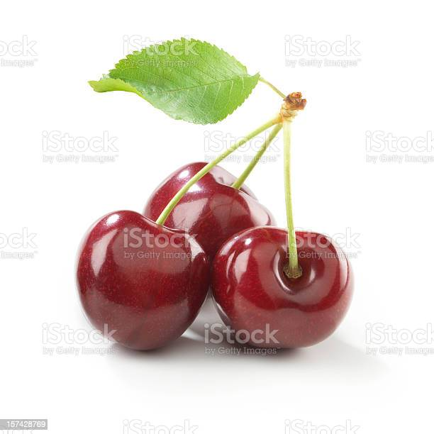 Photo of Cherry trio with stem and Leaf