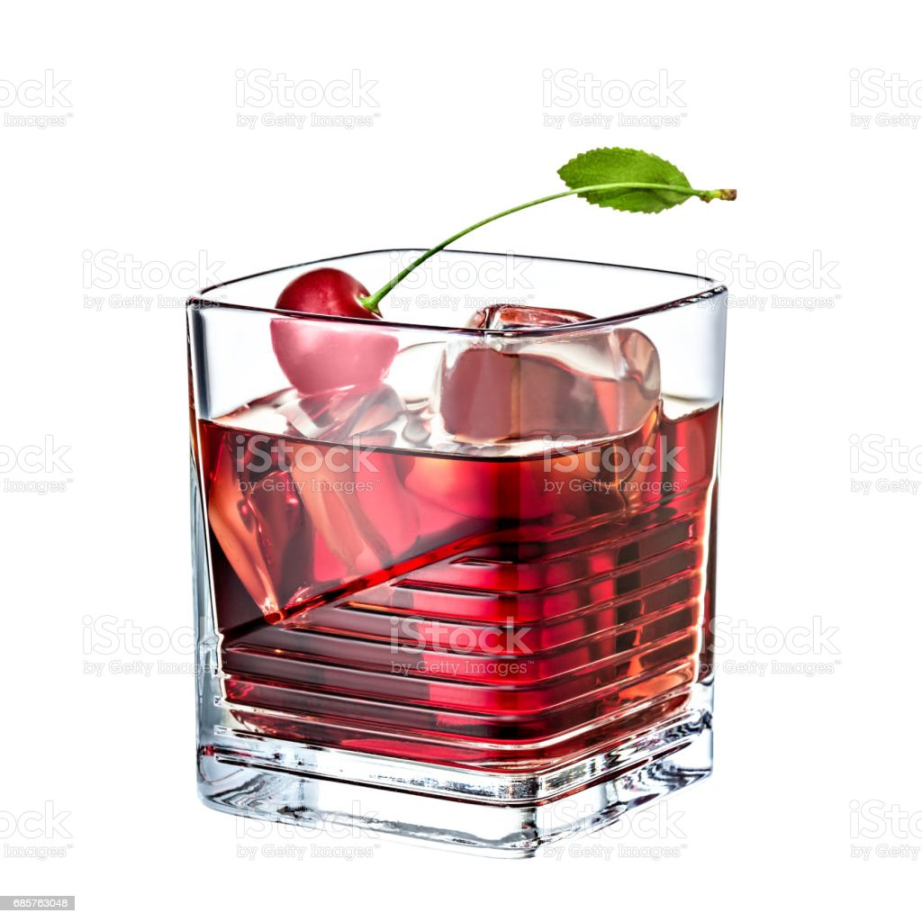 cherry whiskey alcohol cocktail isolated on white background foto stock royalty-free
