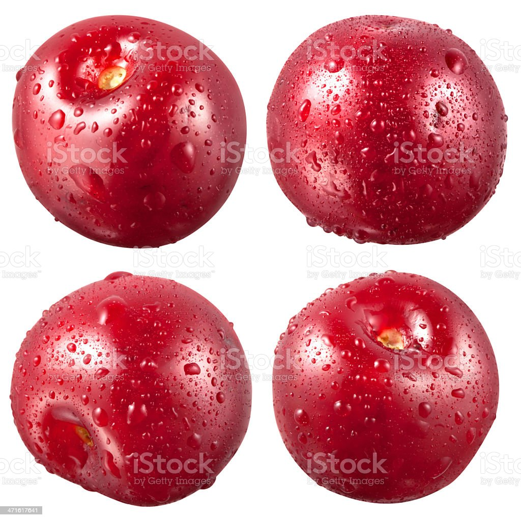 Cherry with drops isolated on white. Clipping path royalty-free stock photo