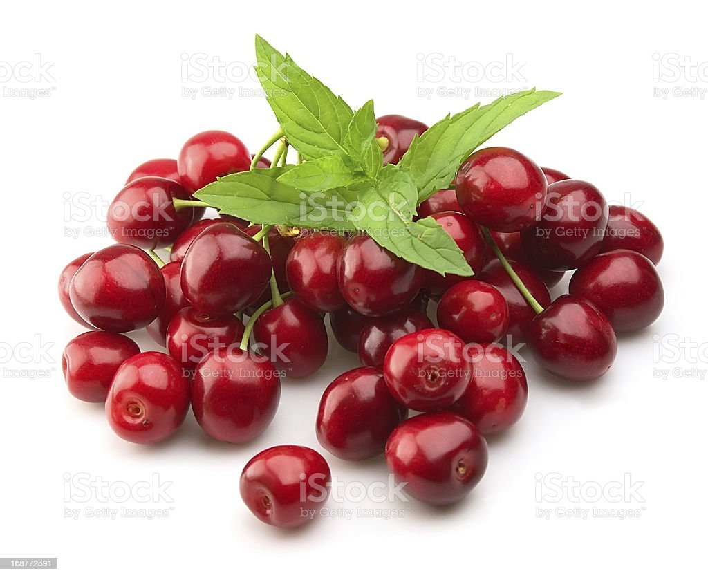 Cherry with fresh mint royalty-free stock photo