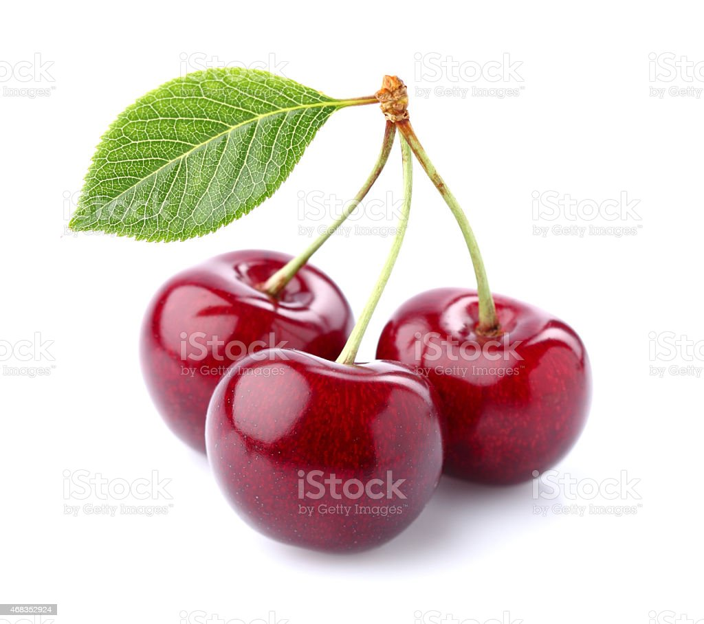 Cherry with leaves royalty-free stock photo