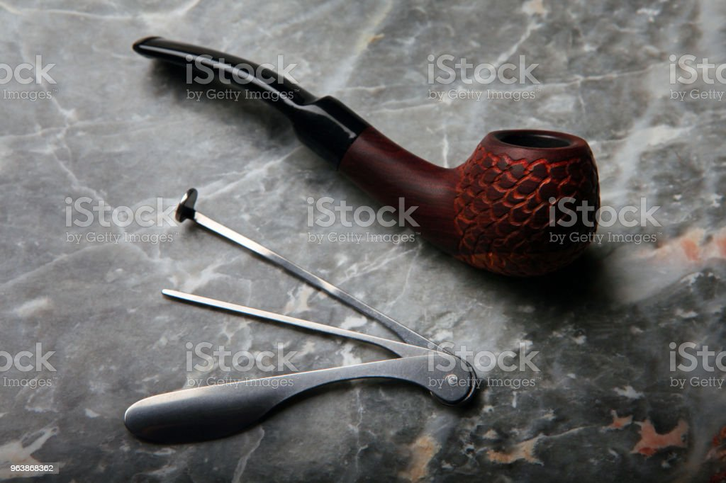 cherry wood smoking pipe - Royalty-free Addiction Stock Photo