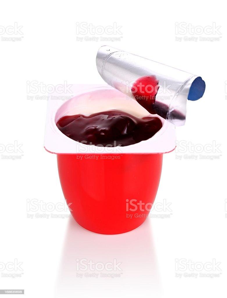 cherry yogurt isolated on white stock photo