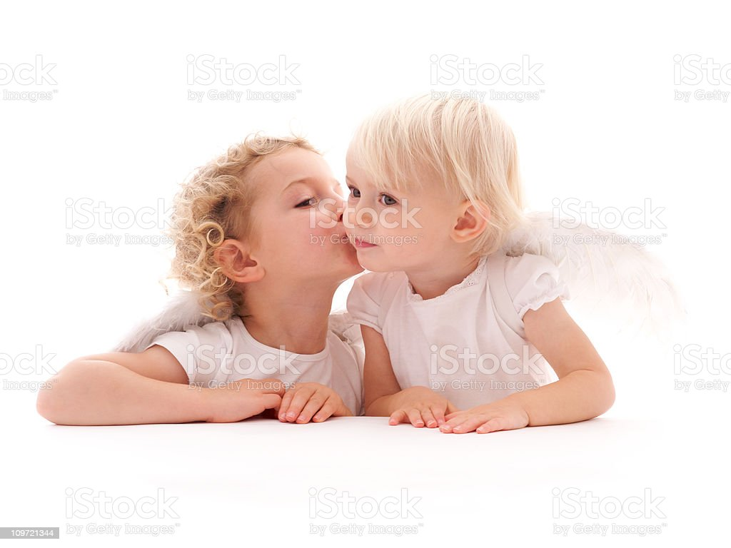 Cherub Angels Kissing royalty-free stock photo
