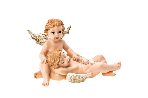 Cherub angels ornament - studio shot with a white background