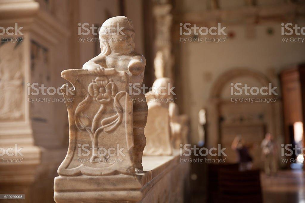 cherub at the Malatesta Temple of Rimini stock photo