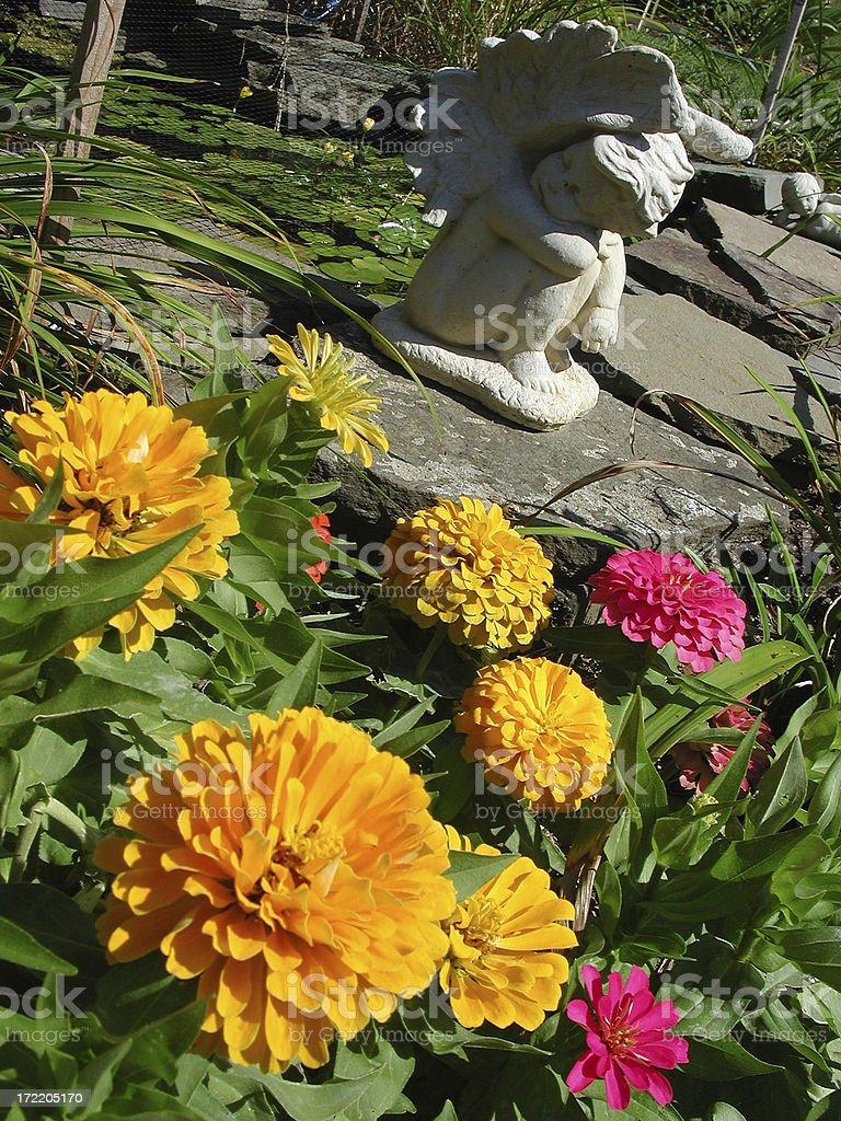 Cherub & Flowers royalty-free stock photo