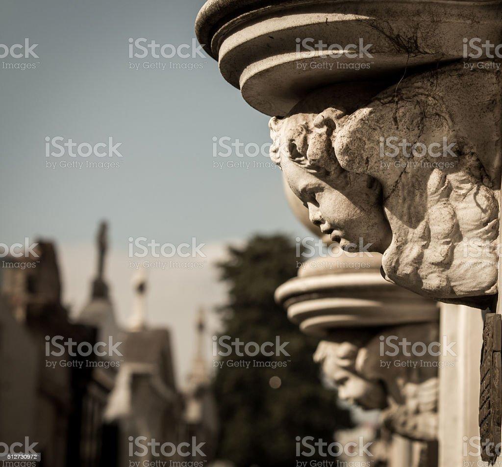 cherub La Recoleta Cemetery stock photo