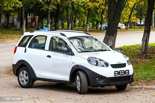 Ufa, Russia - September 25, 2011: White crossover Chery IndiS in the city street.
