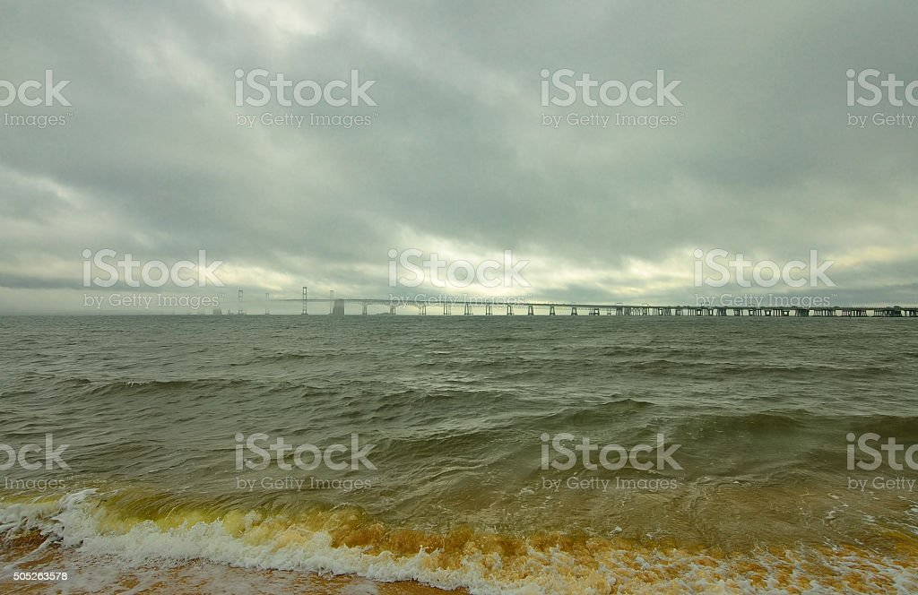 Chesapeake Bay Bridge After Storm stock photo