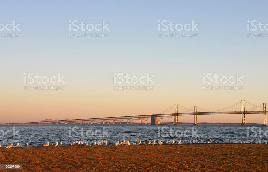 Chesapeake Bay Bridge at dawn (USA) stock photo