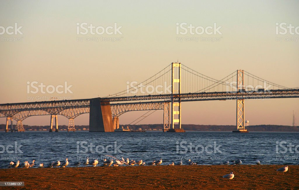 Chesapeake Bay Bridge (Maryland, USA) at sunset stock photo