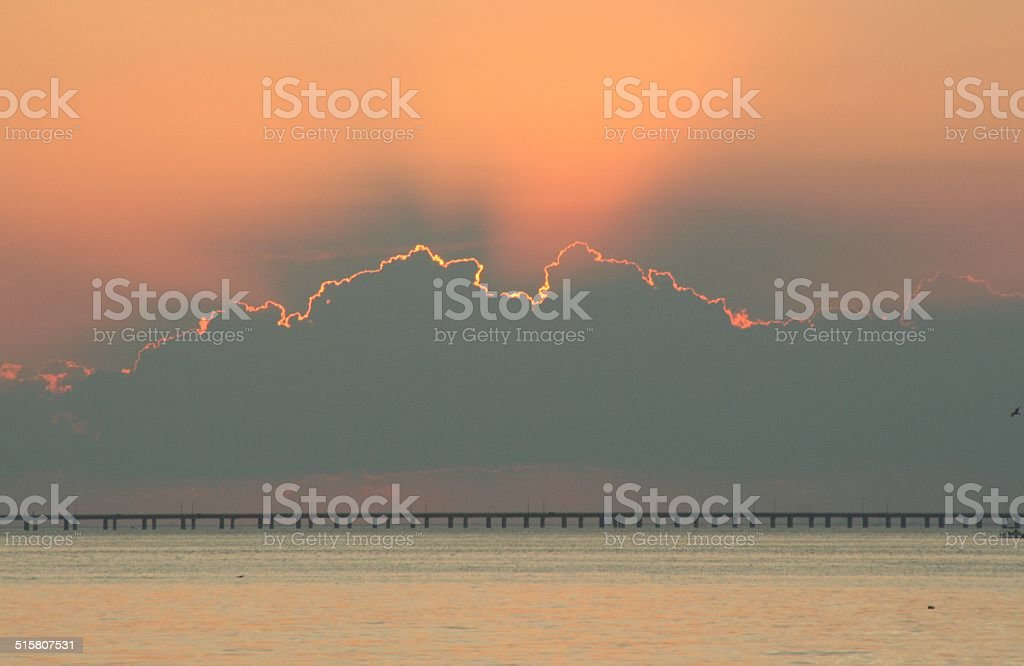 Chesapeake Bay Bridge at sunset stock photo