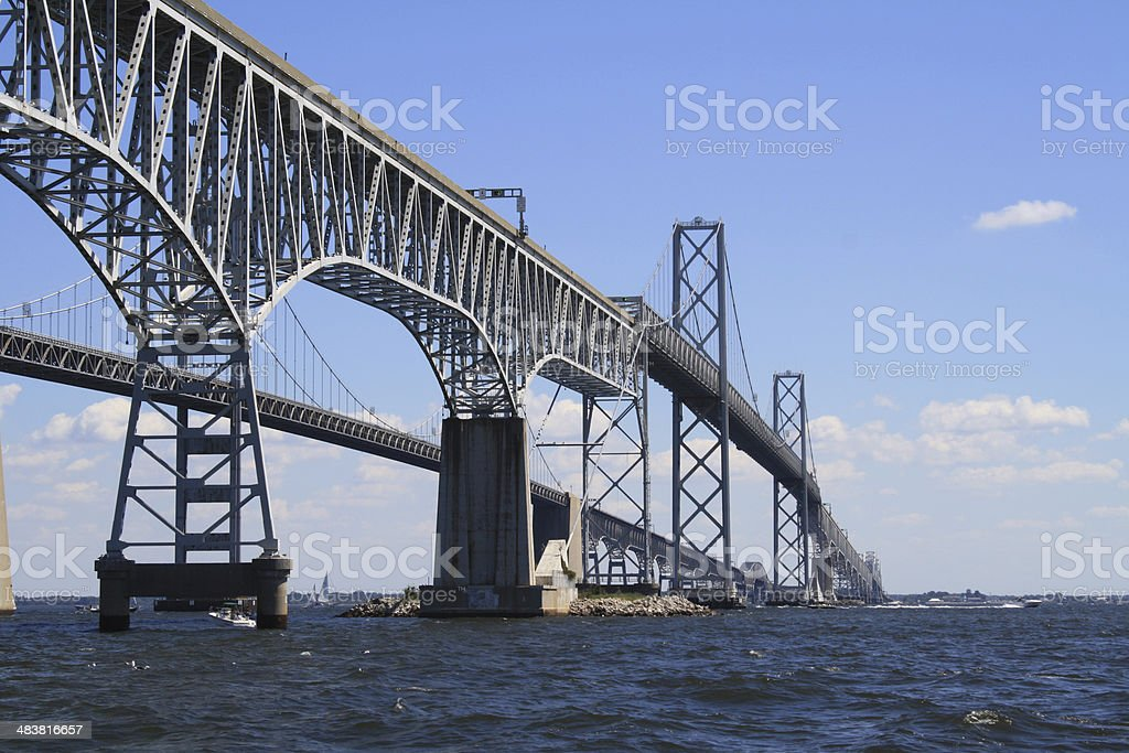 Chesapeake Bay Bridge Close View from the South stock photo