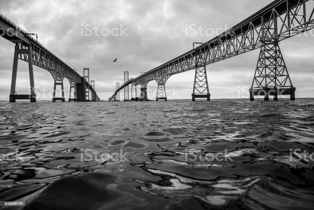 Chesapeake Bay Bridge from Boat Black and White stock photo