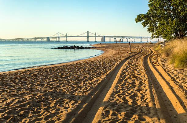 Chesapeake Bay Bridge, Golden Sands of Sandy Point State Park stock photo