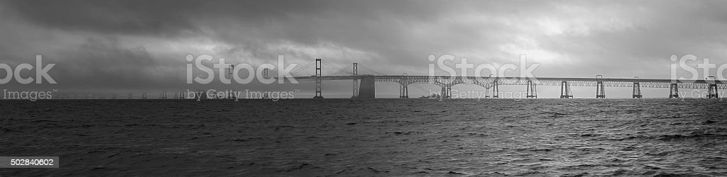 Chesapeake Bay Bridge In Fog stock photo