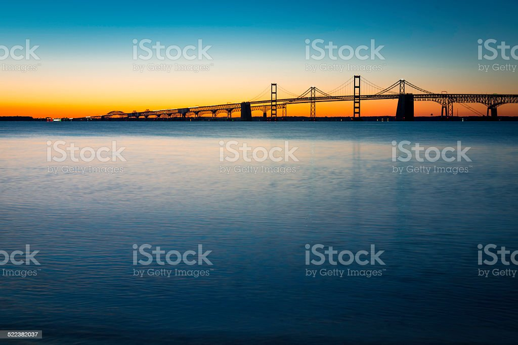 Chesapeake Bay Bridge Just Before Sunrise Horizontal stock photo