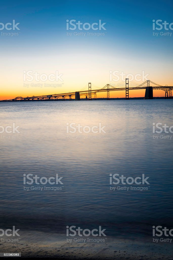 Chesapeake Bay Bridge Just Before Sunrise Vertical stock photo