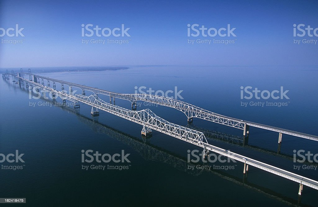 Chesapeake Bay Bridge Panoramic Viewed From The Air. stock photo