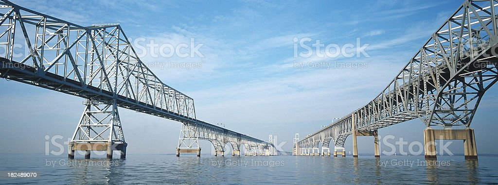 Chesapeake Bay Bridge Panoramic Viewed From The Water. stock photo