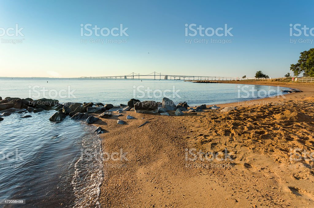 Chesapeake Bay Bridge Seen Sandy Point State Park, Early Morning stock photo