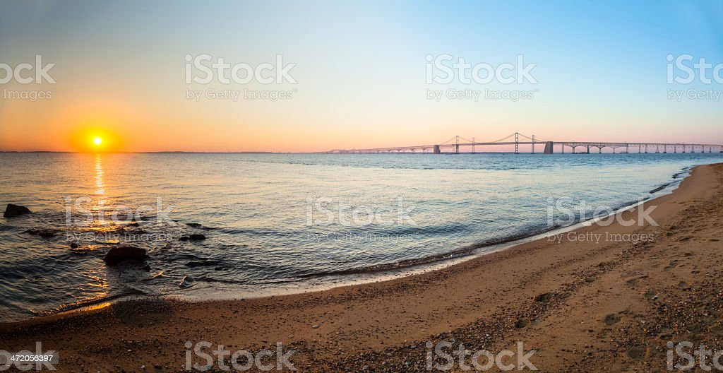 Chesapeake Bay Bridge Sunrise Panorama stock photo