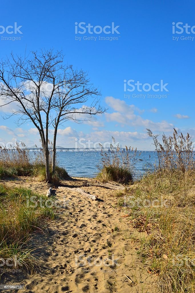 Chesapeake Bay Bridge Terrapin Park View stock photo