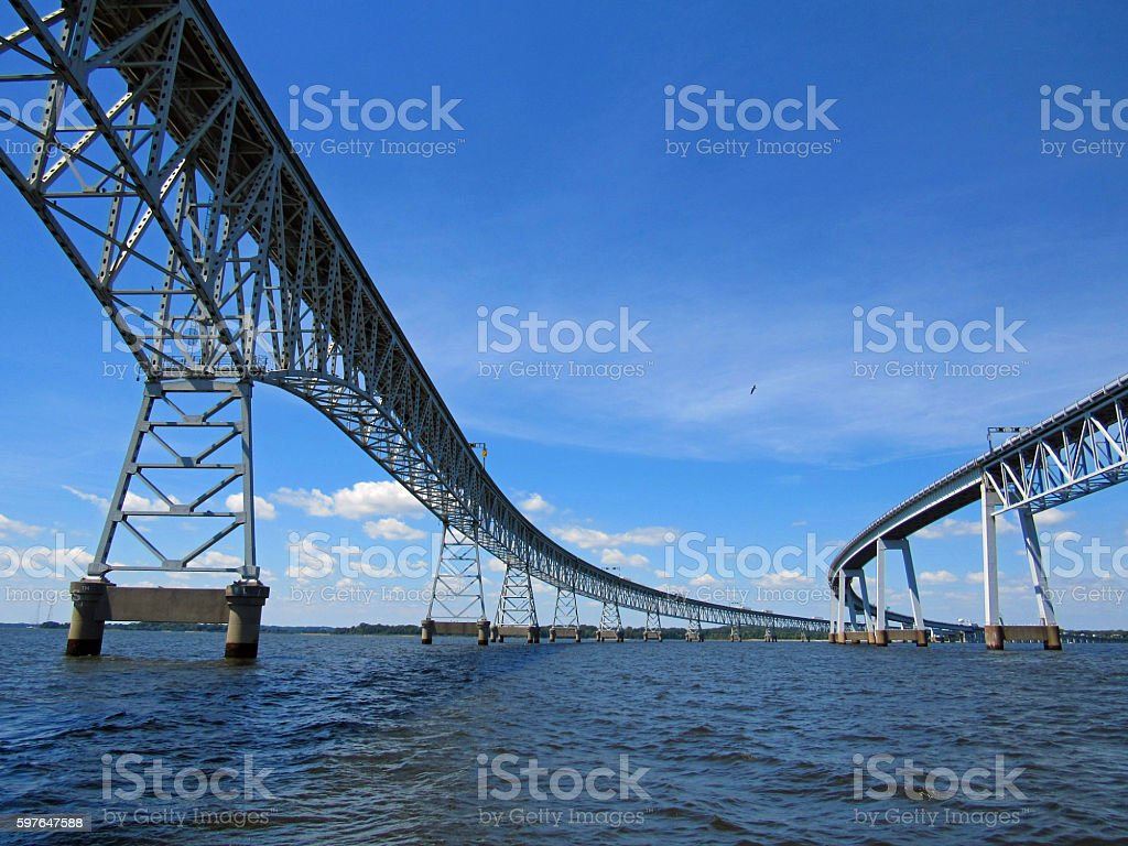 Chesapeake Bay Bridge View from the Water stock photo