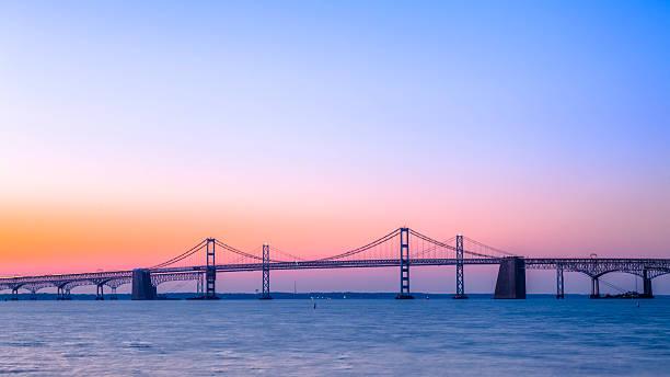 Chesapeake Bay Bridge with Beautiful Sunrise stock photo