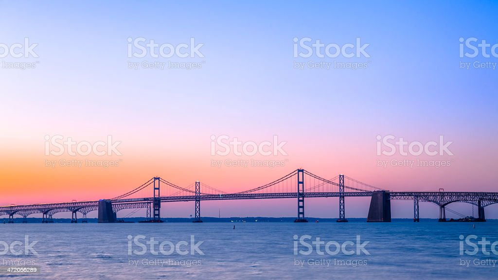 Chesapeake Bay Bridge with Beautiful Sunrise stock photo