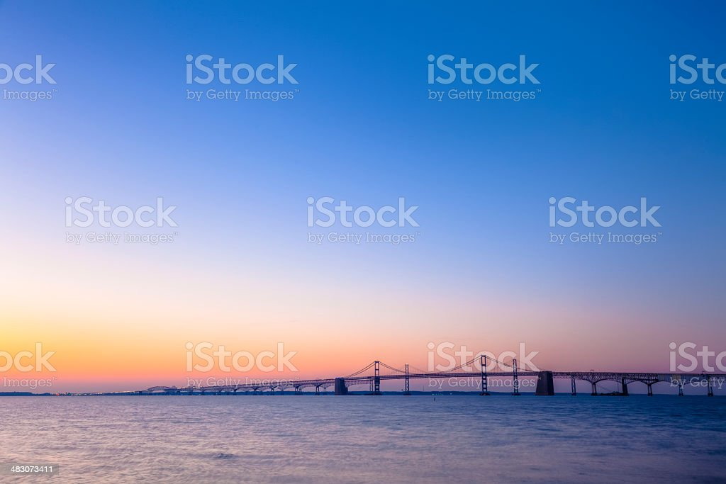 Chesapeake Bay Bridge With Colorful Sunrise stock photo