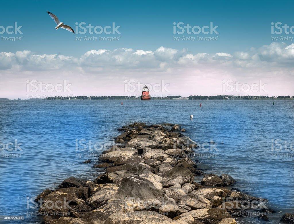 Chesapeake Bay Lighthouse stock photo