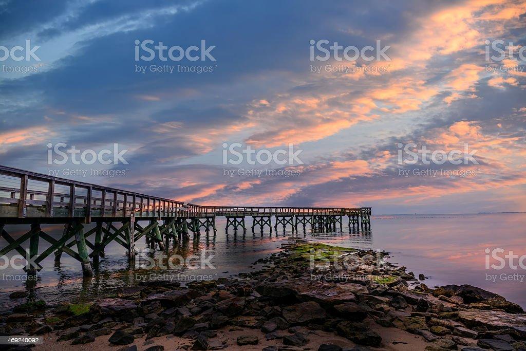 Chesapeake Bay Pier at sunset stock photo