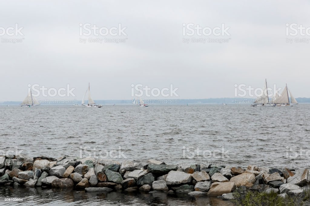 Chesapeake Bay Skipjack Race On A Very Cloudy Day stock photo