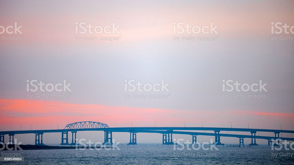 Chesapeake bridge at sunset time. stock photo