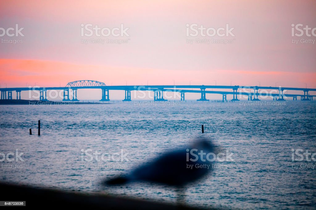 Chesapeake bridge at sunset time stock photo